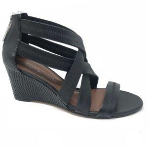Donald J. Pliner Jemi wedge strappy black sandals